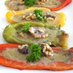 Salty, bagna cauda, fragrant with garlic and buttery flavors is the perfect complement for roasted sweet bell peppers. A traditional recipe for Paleo Stuffed Peppers