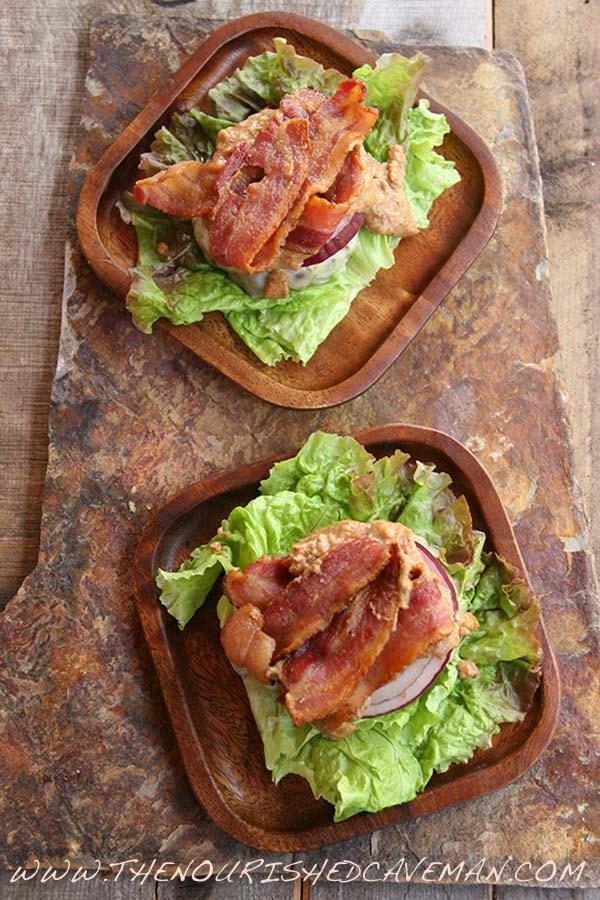 Almond Butter Beastie Bunless Bacon Burger