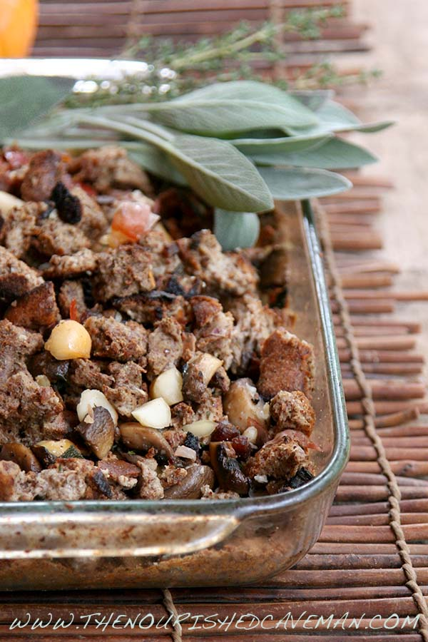 Gourmet Keto Thanksgiving Stuffing By The Nourished Caveman Pyrex close
