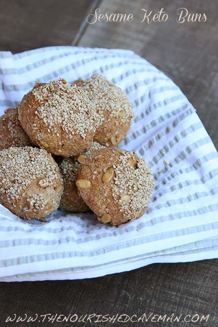 Sesame Keto Buns: I cant' believe it's not bread! They are the ultimate keto friendly bread substitute, great for sandwiches or for any occasion.  By The Nourished Caveman