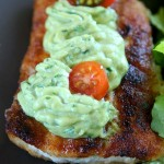 FRIED ROCKFISH WITH CREAMY AVOCADO-GINGER DRESSING BY THE NOURISHED CAVEMAN