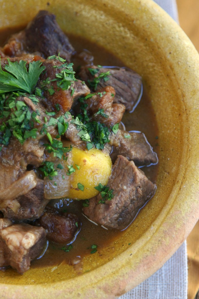 Moroccan Stew With Beef Heart, Apricots Spices, And Lemons