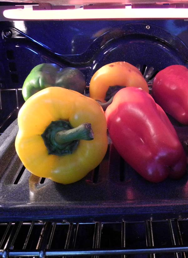 Bell peppers under the broiler