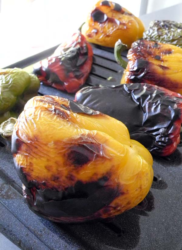Bell peppers evenly roasted