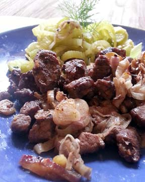 Broiled mutton meat and butter fennel