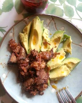 leftover chicharron and steak with avocado