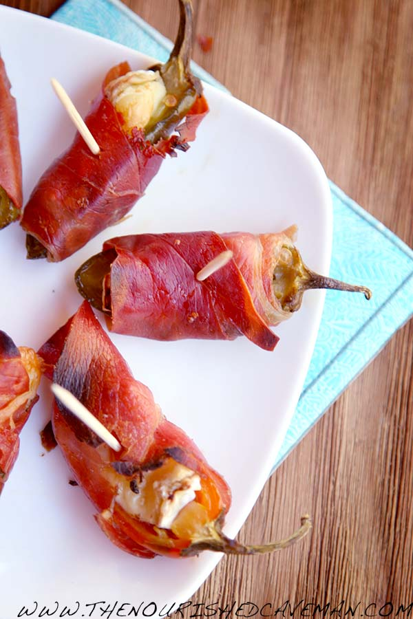 Prosciutto and Brie Jalapeno Poppers By The Nourished Caveman close