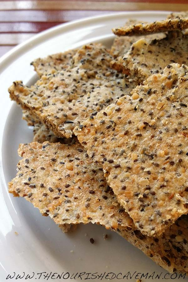Easy Grain Free Crackers By The Nourished Caveman Closeup