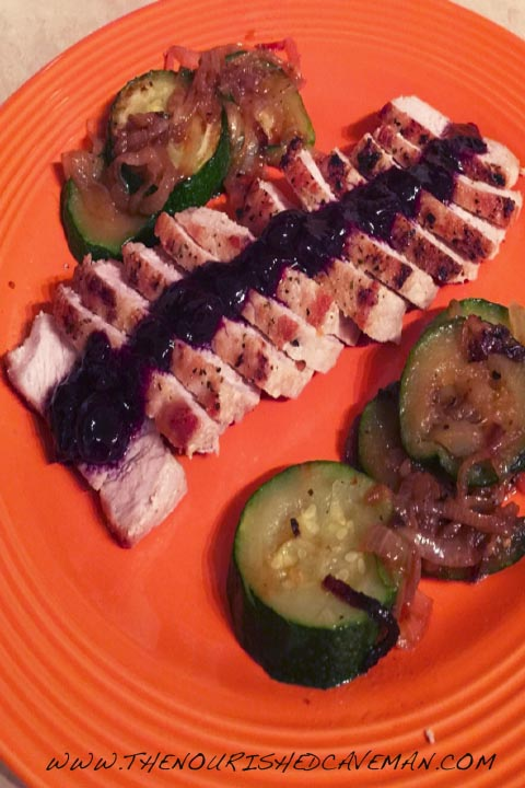 BLUEBERRY PORK LOIN WITH ZUCCHINI SAUTÉ By The Nurished Caveman